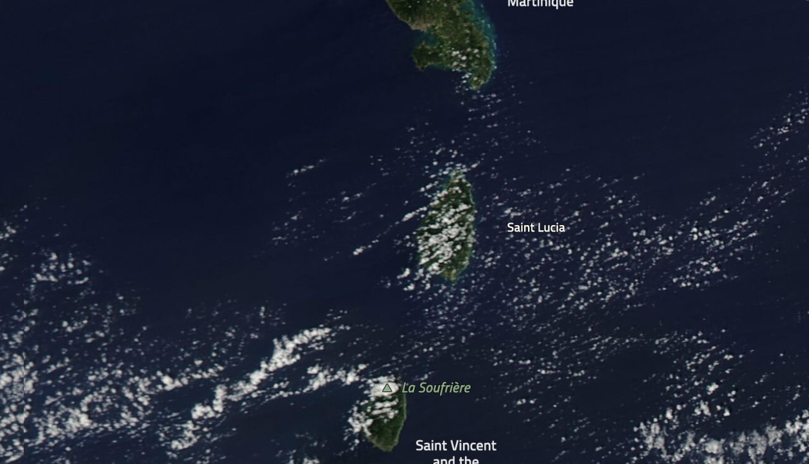Natural-color image showing the location of the two Caribbean volcanoes, as observed by the MODIS instrument aboard NASA's Aqua satellite on January 1, 2021. Please note that the white regions are clouds, not volcanic ash. Credit: NASA Worldview