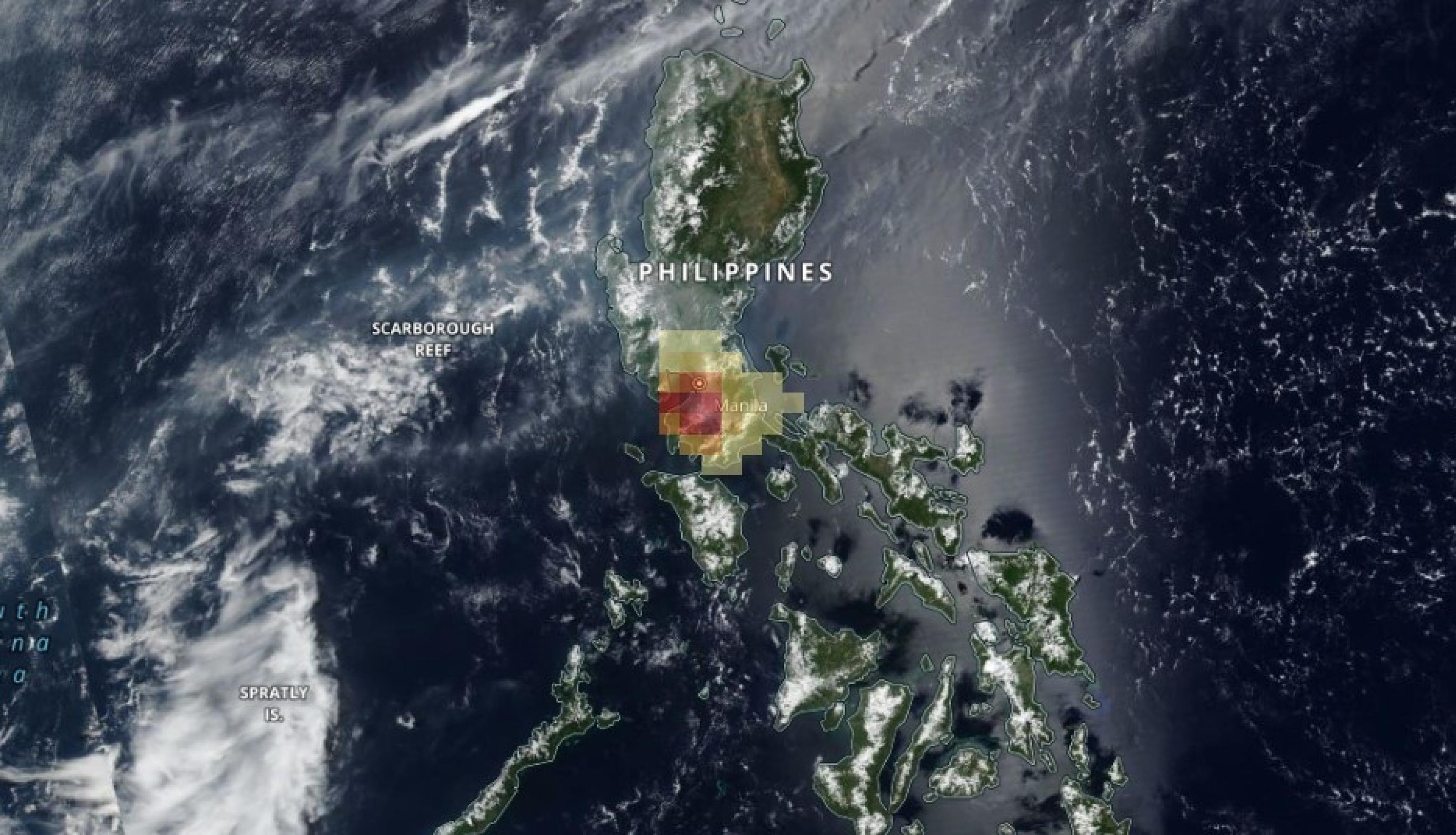 Map of sulfur dioxide (SO2) emitted by the Taal volcano on June 29, 2021, as observed by the NASA/NOAA Suomi NPP satellite. Credits: NASA