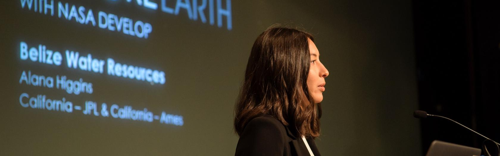 Alana Higgins speaks about water resources in Belize during the 2019 Annual Earth Science Applications Showcase