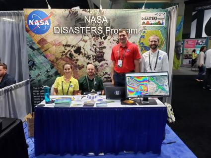 Photo of the Disasters program area booth at the 2019 Esri user conference