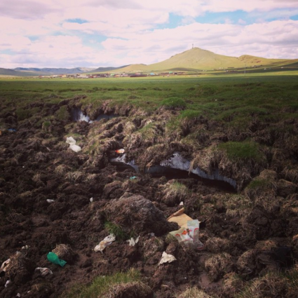 photo of permafrost thawing in Mongolia