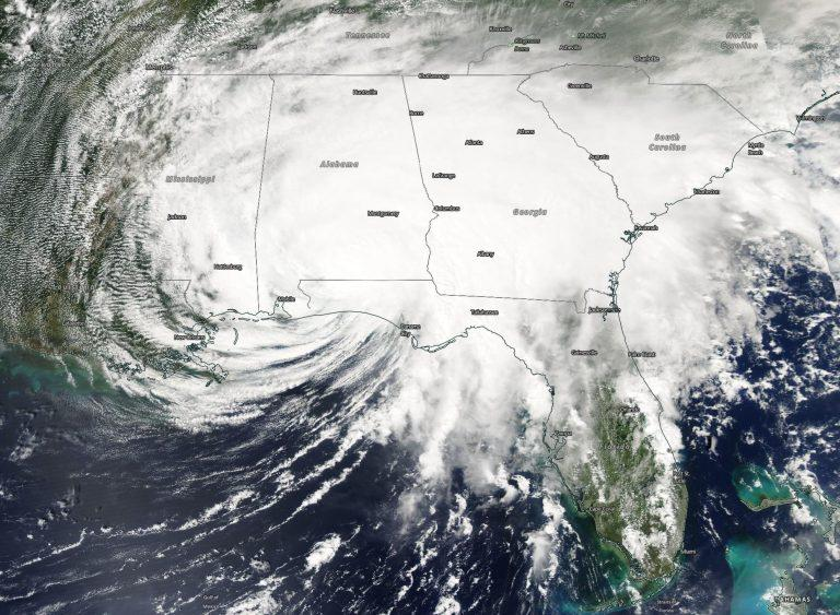 NASA's Aqua satellite provided a visible image of Sally at 1:30 p.m. EDT on Sept. 16 about 8 hours after landfall in southern Alabama. Sally then continued a slow trek through Alabama. Credit: NASA Worldview, Earth Observing System Data and Information System (EOSDIS)