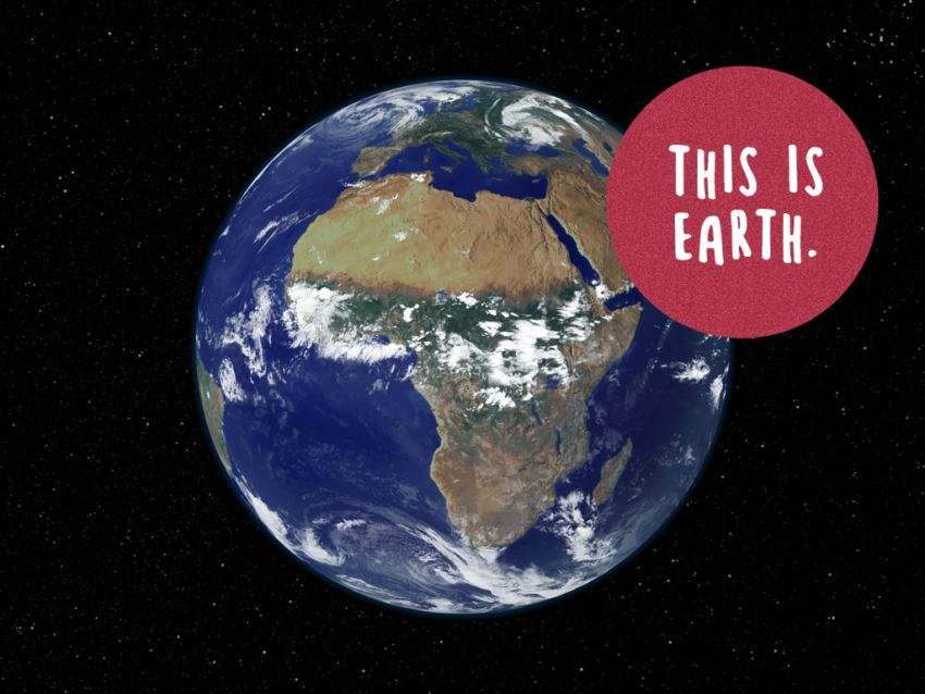 Satellite image of Earth with 'This is Earth' text