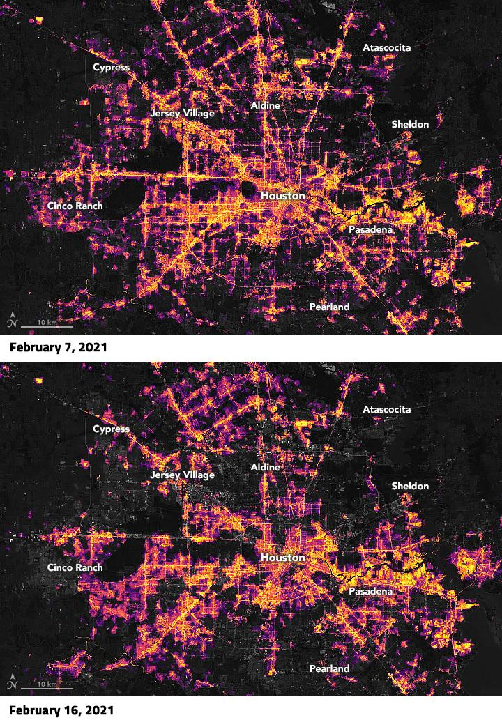 Satellite image of nighttime lights in Houston, Texas, before (Feb. 7) and after (Feb. 16) winter weather caused widespread power outages in the region. Credits: NASA Earth Observatory, USRA