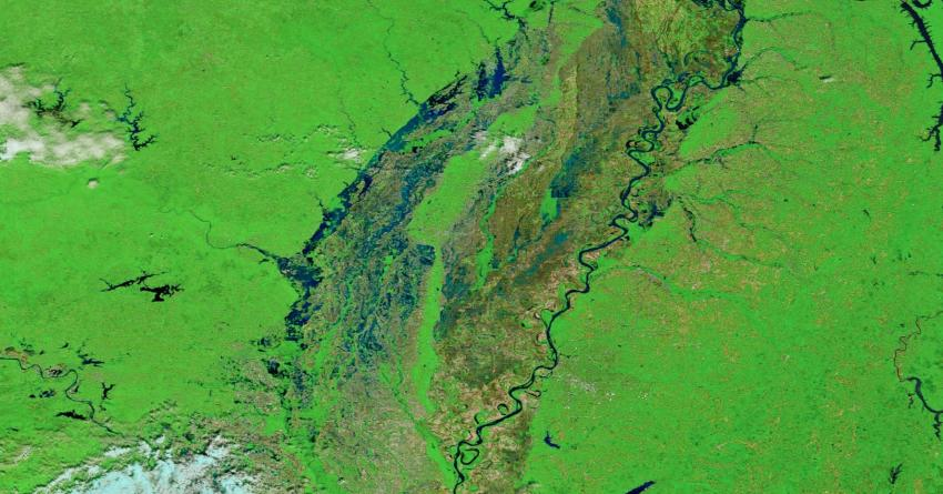 Floods in the midwest in 2017 as observed by MODIS.