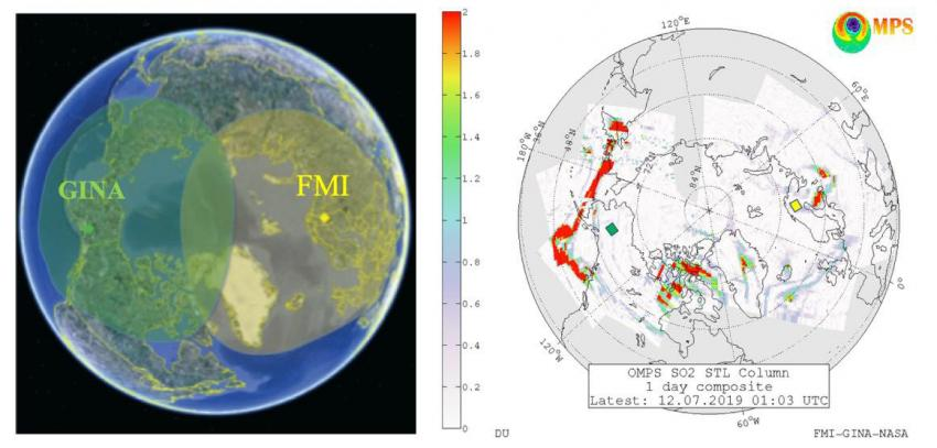 (Left) Direct Readout Coverage of the EOS, SNPP and NOAA20 direct broadcast receiving with FMI satellite downlink station in Sodankylä in Northern Finland (yellow) and GINA ground station in Fairbanks, Alaska (green). (Right) Suomi NPP OMPS Direct Readout sulfur dioxide (SO2) column density map (in Dobson Units, 1DU= 2.69x1016 molecules/cm2 ) showing volcanic SO2 cloud (in red) from 2019 Raikoke eruption dispersed over Arctic. Currently both GINA and FMI volcanic SO2 maps are made available at the FMI SAMPO