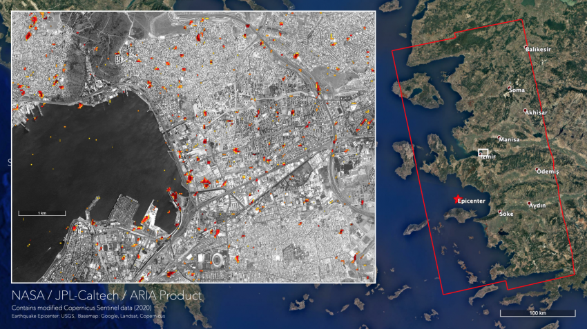 Damage proxy map (DPM) showing areas in Izmir, Turkey that were likely damaged from the earthquake in red and yellow. The map was derived from synthetic aperture radar (SAR) data collected before (October 18, 2020 and October 24, 2020) and after (October 30, 2020) the earthquake.   Credits: NASA / JPL Caltech.  Contains modified Copernicus Sentinel data (2020), processed by ESA.