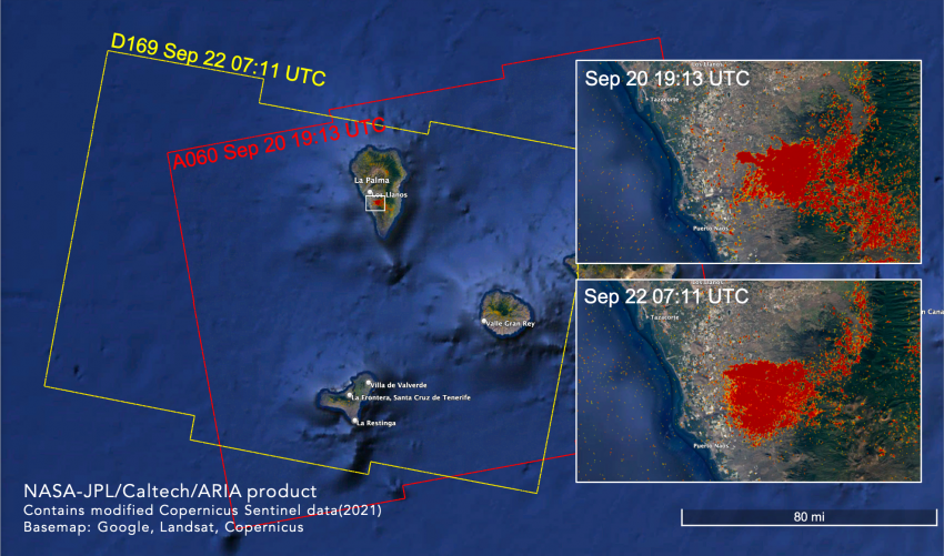 The Advanced Rapid Imaging and Analysis (ARIA) team at NASA's Jet Propulsion Laboratory and California Institute of Technology in Southern California produced these Damage Proxy Maps (DPM) depicting areas that were likely damaged or strongly affected by the volcanic eruption on the island of La Palma. The image shows two DPMs produced with data from Sept. 20 and 22, 2021.
