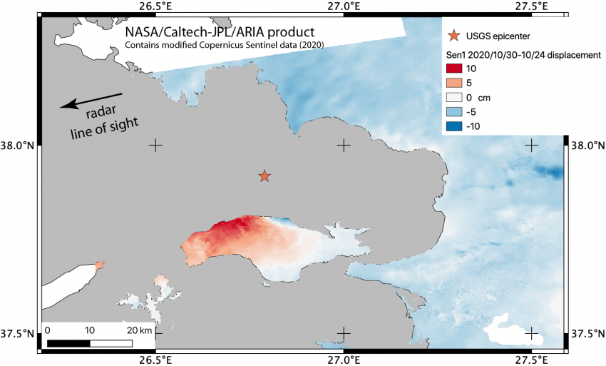 Displacement map showing where and how much the ground moved due to the earthquake, using SAR data collected before (October 24, 2020) and after (October 30, 2020) the earthquake. The grey color is the Aegean Sea, with the color variation from blue to red showing displacement in the direction between the ground and the satellite. The epicenter is shown as a star, just north of the Greek island of Samos. Izmir, Turkey is further north and not shown in this image. Credits: NASA / JPL Caltech.  Contains modifi