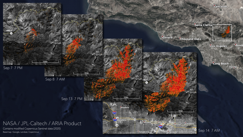 Map showing likely damaged areas in Angeles National Forest on September 7, 8, 13, and 14, 2020. Credits: NASA, contains modified Copernicus Sentinel data (2020), processed by ESA and analyzed by the NASA-JPL/Caltech ARIA team.
