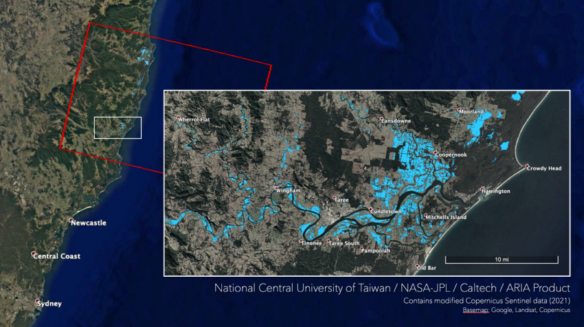 SAR-derived map showing areas in New South Wales, Australia, that are likely flooded due to heavy rain on March 20, 2021. Credits: NASA JPL ARIA, National Central University of Taiwan, Copyright contains modified Copernicus Sentinel data (2021), processed by ESA.