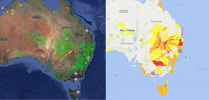 The two images above, showing flooding in eastern Australia, were captured from the Pacific Disaster Center's (PDC) DisasterAWARE® platform on March 24, 2021. Credits: NASA, ESA, PDC