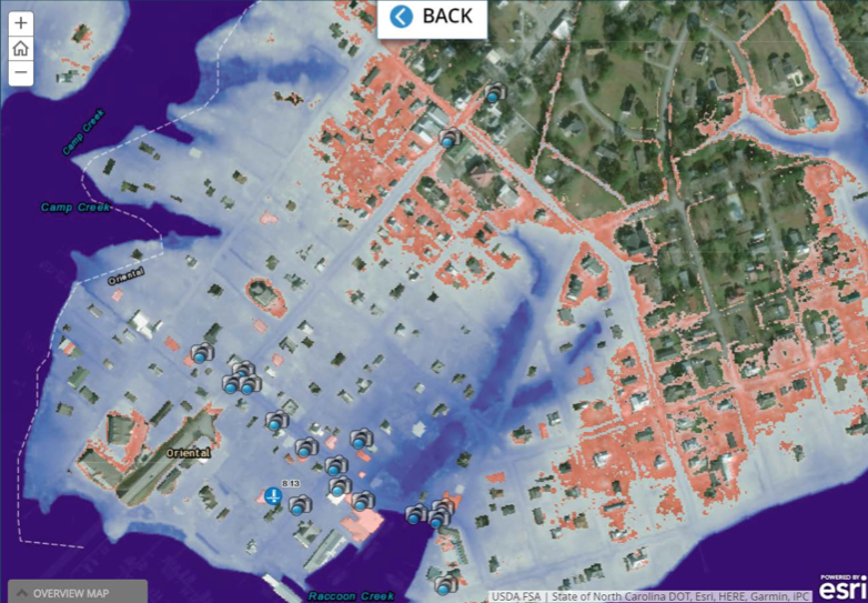 This map generated by the CAIR project shows the potential impact of sea level rise on hurricane-induced flooding in Oriental, North Carolina.