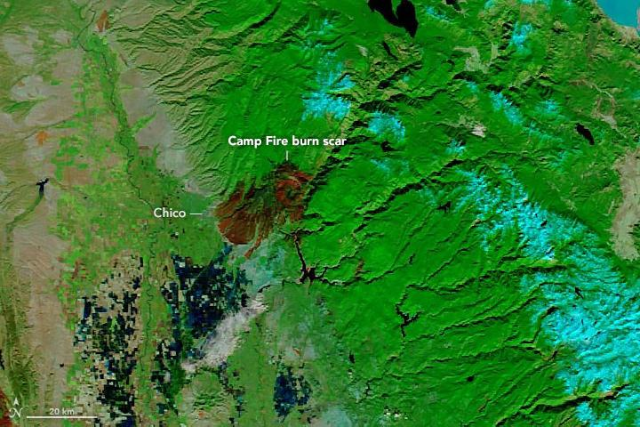 Image of burn scars on the landscape as captured by a satellite
