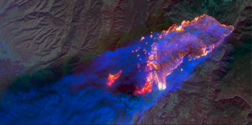 satellite data image of 2018 Camp Fire