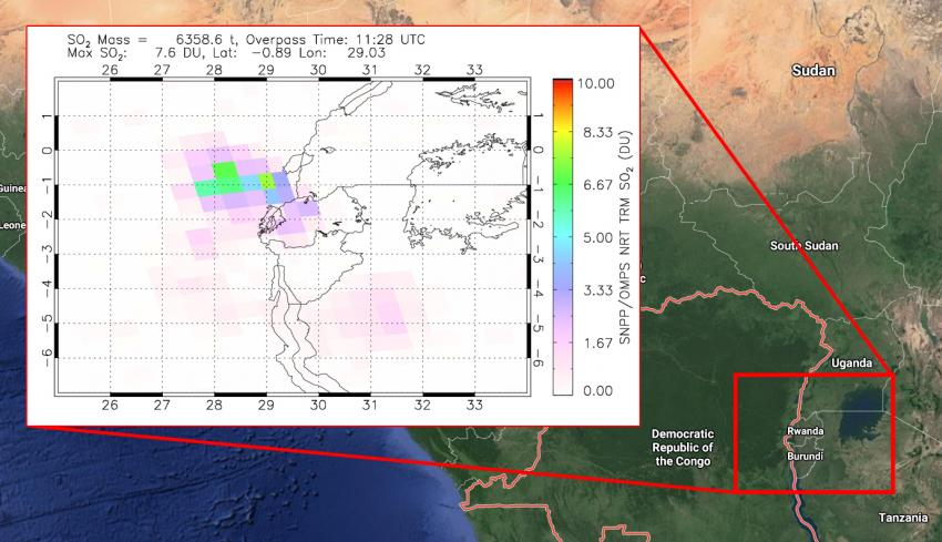 Satellite observations of volcanic sulfur dioxide (SO2) from the OMPS instrument aboard the NASA/NOAA Suomi-NPP satellite on May 23, 2021, show the likely location of volcanic gas and ash from the eruption. Credits: NASA