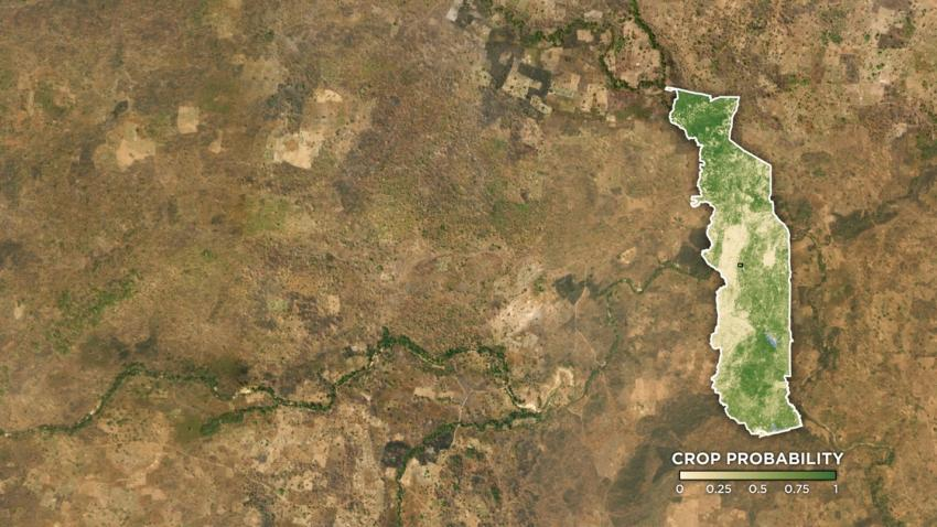 satellite image of crops in Togo, Africa.