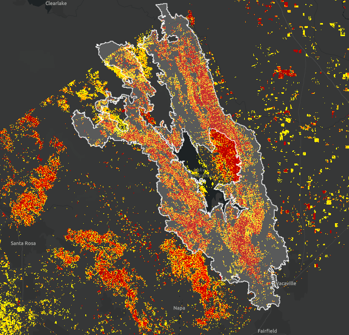 Damage Proxy Map of the LNU Lightning Complex fires showing likely damaged areas in red and yellow. The map was generated by comparing airborne UAVSAR data collected before (October 2nd & 3rd, 2018) and during (September 3rd, 2020) the fires. The white outline indicates the perimeter of the LNU Lightning Complex fire as of September 11th as determined by the National Interagency Fire Center (NIFC) – this perimeter aids in differentiating current from historical fire damage and potential false positives in t