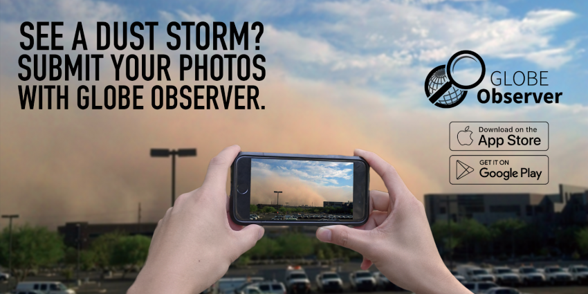 Graphic showing a mobile phone taking an image of a dust storm with text describing the app.