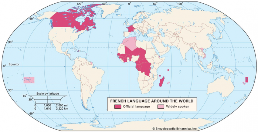 Map of the world showing French-speaking areas