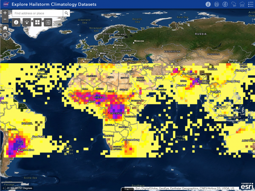 This image from the NASA Langley Hailstorm Data Visualization portal depicts a hailstorm climatology derived from Tropical Rainfall Measurement Mission data across the African continent, as well as other international hail hotspots. Darker colored areas experience more hailstorms annually than lighter colored areas. Credits: Kristopher Bedka (NASA LaRC), Sarah Bang and Daniel Cecil (NASA MSFC)