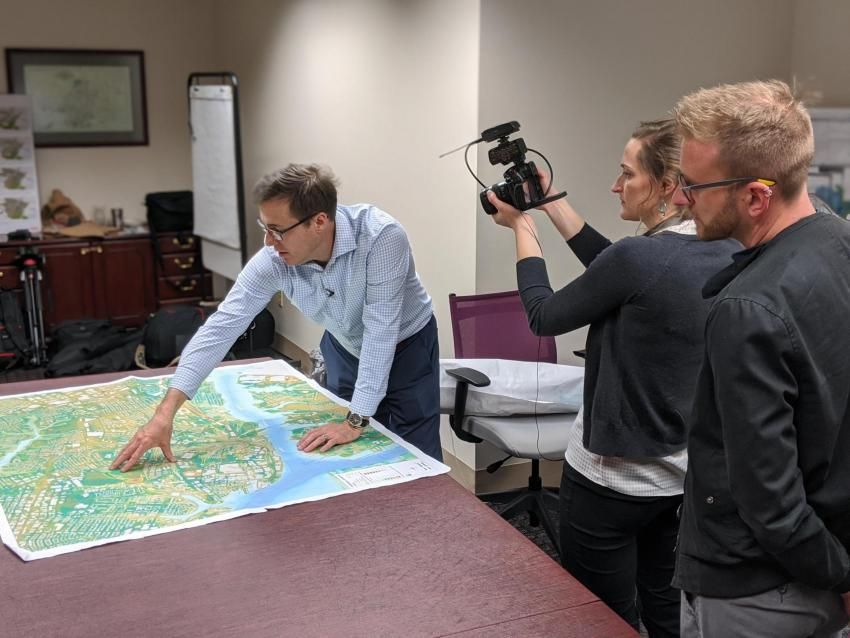 Kyle Spencer describes options for a flood wall along the Elizabeth River in Virginia.