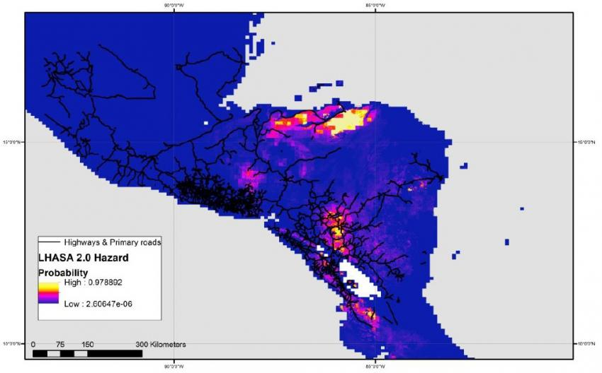 Estimated probability of landslide hazards in Central America for November 3, 2020, with warmer colors indicating a higher likelihood of landslides. The location of major highways and roads are also shown, using data from the Global Roads Inventory Project (GRIP). Credits: NASA GSFC Hydrological Sciences Laboratory, GRIP