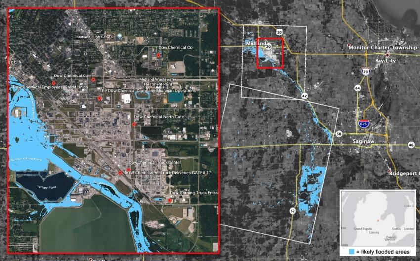 This Flood Proxy Map (FPM) shows areas that are likely flooded in Midland City, Michigan, due to the failure of the Edenville and Sanford Dams. Credits: NASA JPL ARIA, NCU, Planet Labs, Google
