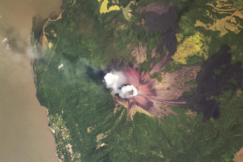 Image of the Momotombo Volcano in western Nicaragua taken from a crewmember aboard the International Space Station (ISS) on July 10, 2018 Credits: NASA