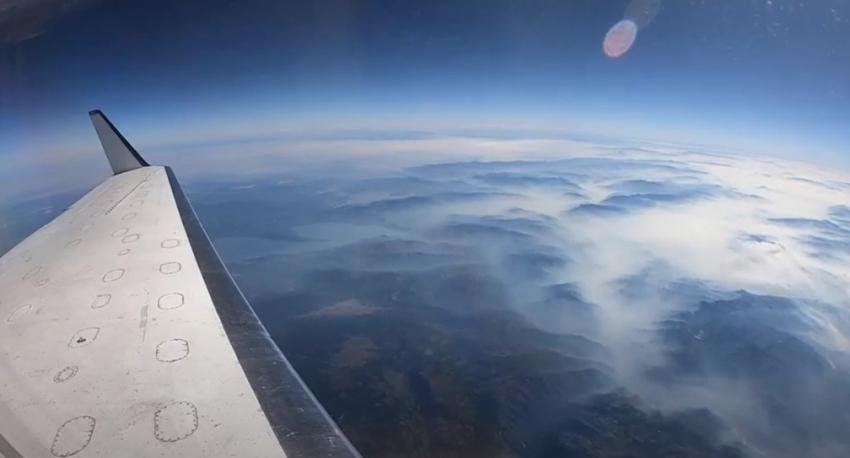 NASA's C-20A aircraft flies over fires in California in Sept. 2020, carrying the Uninhabited Aerial Vehicle Synthetic Aperture Radar (UAVSAR) instrument developed and operated by NASA's Jet Propulsion Laboratory.  Credits: NASA