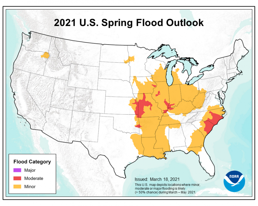 This map depicts the locations where there is a greater than 50% chance of moderate or minor flooding during March through May 2021. Credits: NOAA