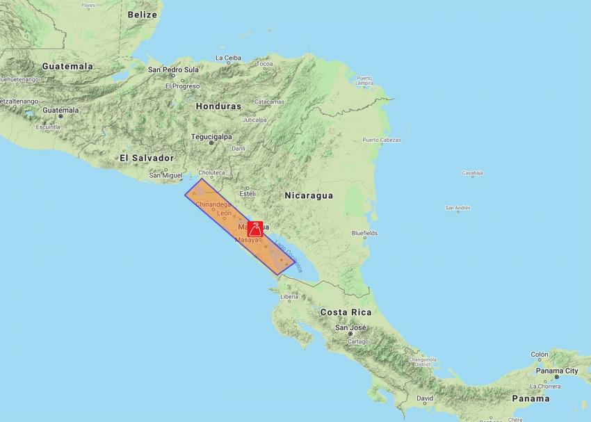 The orange rectangle illustrates the area of focus for the Nicaraguan Volcano Supersite. Credits: Google Maps, with data from INTER (Source: http://geo-gsnl.org/supersites/permanent-supersites/nicaragua-supersite)