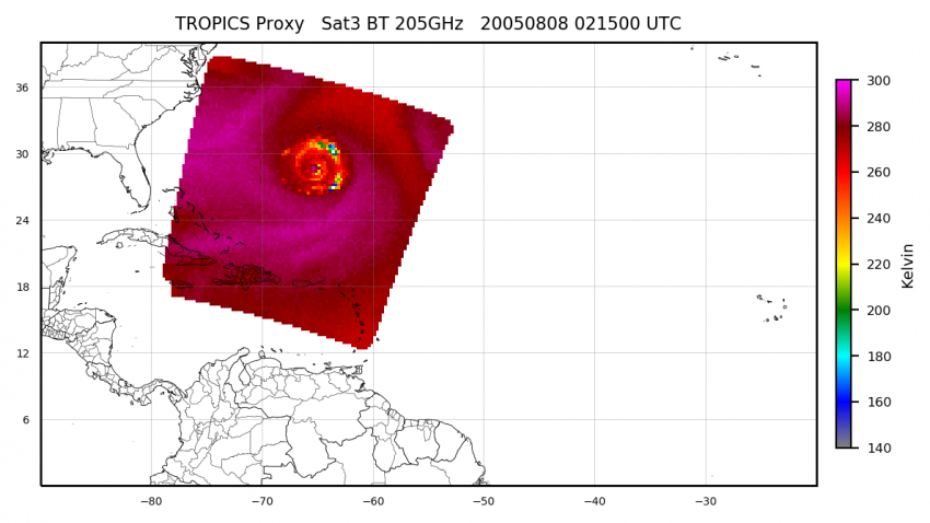 This example of 205 GHz brightness temperature data shows a simulated TROPICS overpass of a tropical cyclone. Cooler colors show the structure of convective storm clouds, while warmer colors show the ocean's surface. Currently few Earth-observing instruments include channels near 205 GHz, making TROPICS unique in its ability to view cloud top microphysics, and allowing scientists to link cloud characteristics to storm structure and intensity. Credits: NASA SPoRT