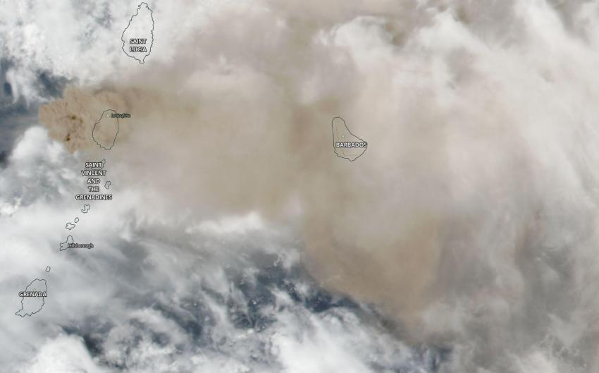 Satellite observation of the island of St. Vincent on April 10, 2021, as seen by the VIIRS instrument aboard the NASA/NOAA Suomi-NPP satellite. Volcanic ash can be seen as a brown cloud covering the entire island and extending east to cover Barbados. Credits: NASA