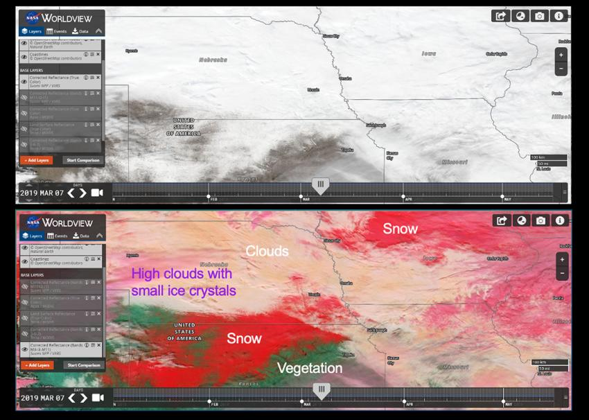 Screenshots of NASA Worldview images presented during Project Atmosphere depiciting the usefulness of showing a False Color RGB (Red Green Blue) composite.