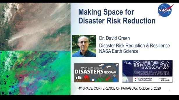 """Intro slide from David Green's keynote talk """"Making Space for Disaster Risk Reduction."""" Credits: NASA"""