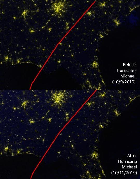 These before-and-after images show Hurricane Michael's impact on Florida's Gulf Coast between Oct. 9 and 11, 2019. If you follow along the hurricane's northeasterly track, you can see that many nighttime lights disappeared after the storm (on Oct. 11). Credits: NASA