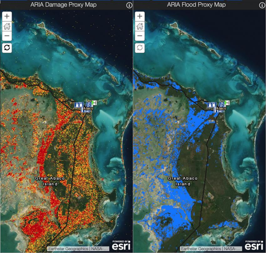 NASA creates and provides detailed maps of the Caribbean to aid local governments and emergency response organizations when disaseter strikes. Pictured above is a Damage Proxy Map (left) and a Flood Proxy Map (right) showing likely damaged infrastructure and flooded area in the Bahamas after 2019's Hurricane Dorian. Credits: NASA-JPL, ARIA, Caltech