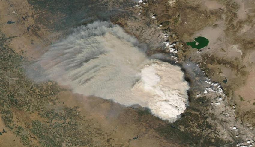 This natural-color image from the Moderate Resolution Imaging Spectroradiometer (MODIS) instrument aboard NASA's Aqua satellite shows a pyrocumulonimbus cloud forming from the the Creek Fire on September 5th, 2020. Credit: NASA Worldview.