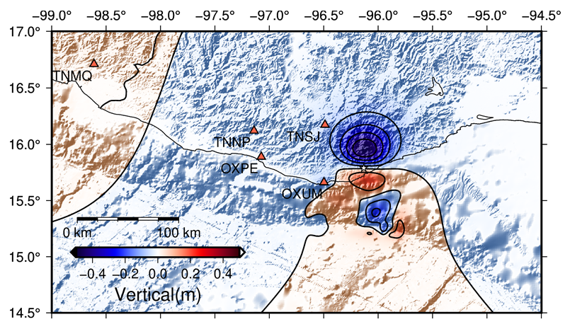 The team generated the above model which depicts the expected vertical deformation of the terrain as a result of the earthquake—with areas of uplift shown in red, and areas of subsidence shown in blue. Credit: NASA, Diego Melgar