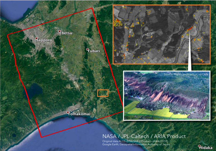 Image Captions: Data products distributed by the NASA Disasters Program, such as the above Damage Proxy Map (DPM) showing likely damaged areas from the September 2018 earthquake in Hokkaido, Japan, use Earth-observing data to assess the impacts of disasters on local communities and aid responders in allocating resources. Credit:  NASA-JPL/Caltech ARIA team, ALOS-2 data provided by JAXA