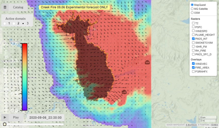 """This example of data hosted on the Disasters Mapping Portal shows an experimental fuel moisture forecast product from the ROSES A.37 research project """"Coupled Interactive Forecasting of Weather, Fire Behavior, and Smoke Impact for Improved Wildland Fire Decision Making""""."""