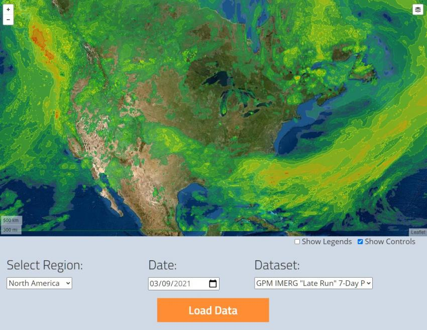 Screenshot from the GPM precipitation and applications viewer