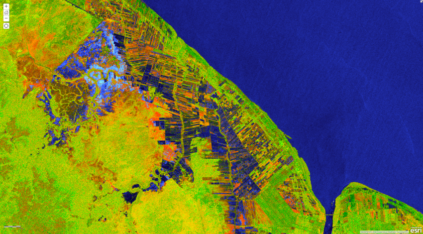 RGB composite image of areas near Mahaicony, Guyana derived from ESA Copernicus Sentinel-1 satellite data collected between May 14 and June 1, 2021. Unobstructed surface water appears in blue and vegetated areas in shades of green. Orange hues may indicate inundated vegetation. Credits: NASA, Alaska Satellite Facility. Copyright contains modified Copernicus Sentinel data 2021, processed by ESA