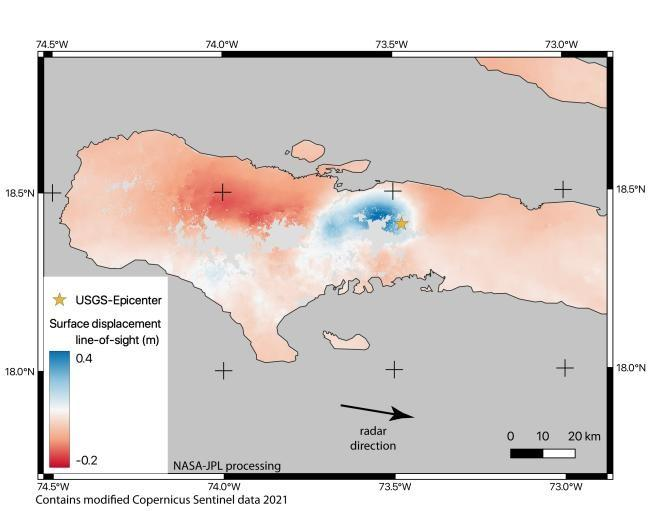 Surface deformation from the earthquake derived from ESA Sentinel-1A synthetic aperture radar (SAR) observations from before (Aug. 3, 2021) and after (Aug. 15, 2021) the event.