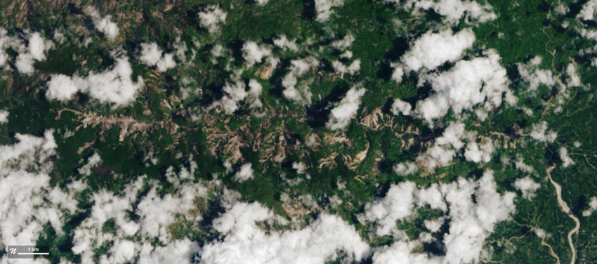 The Operational Land Imager (OLI) on Landsat 8 acquired this natural-color view of landslides in and around Pic Macaya National Park in southwestern Haiti on Aug. 14, 2021, the same day the earthquake hit. Credits: NASA Earth Observatory