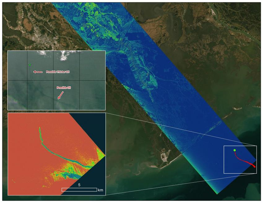 A map image visualizing data gathered on a radar instrument flown by the Delta-X mission showing an oil slick off the coast of Port Fourchon, Louisiana, on Sept. 1, 2021.