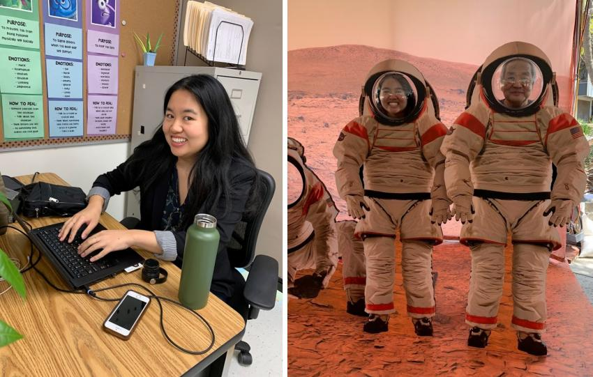 Left: Karen participates in a career fair day at a local middle school. Right: Karen at a NASA Jet Propulsion Laboratory open house. Credits: Karen An