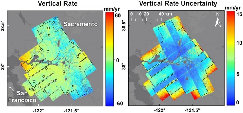 """Vertical velocity rates (and corresponding uncertainties) show areas of subsidence in the Sacramento San-Joaquin Valley in northern California. These rates are derived from UAVSAR, NASA's airborne radar instrument which is capable of detecting changes in elevation at the millimeter scale. Source: Bekaert, David PS, et al. """"Exploiting UAVSAR for a comprehensive analysis of subsidence in the Sacramento Delta."""" Remote sensing of environment 220 (2019): 124-134."""