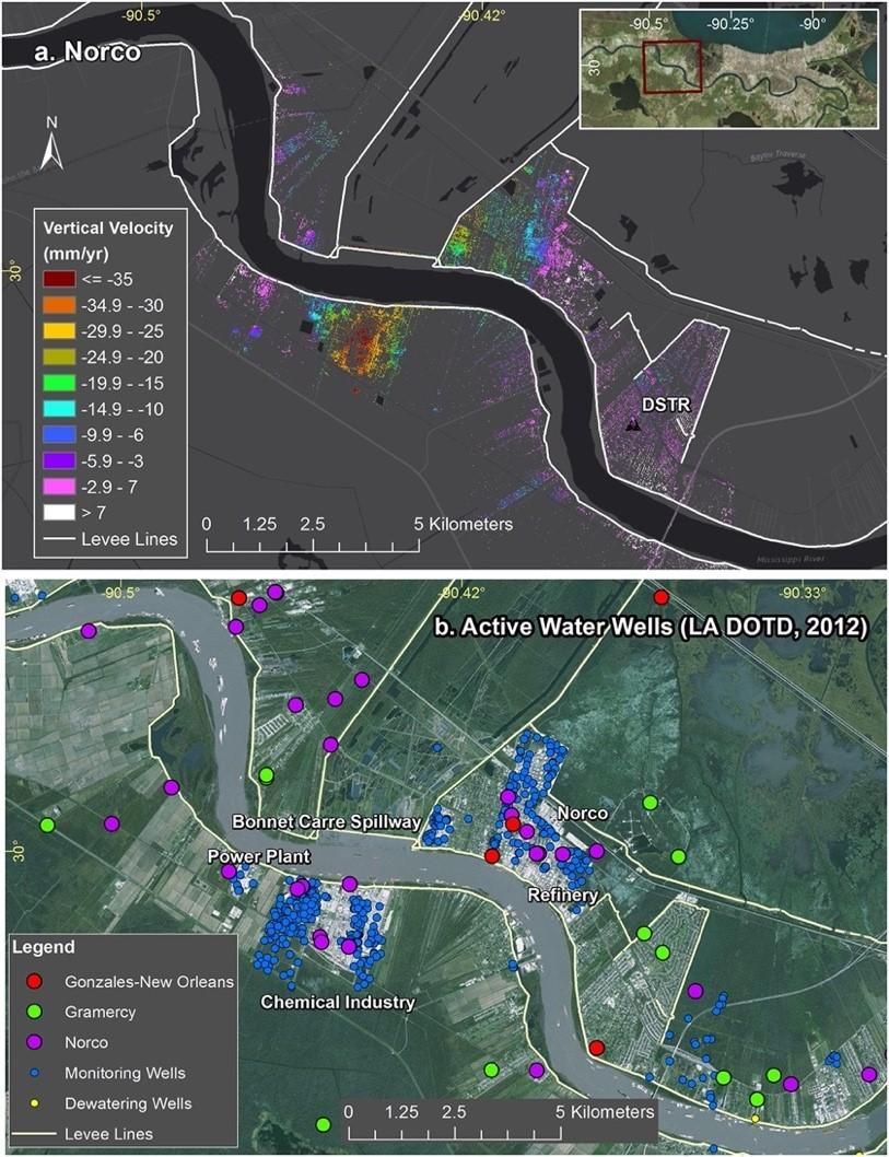 """(Top) Vertical velocity rates from UAVSAR show areas of subsidence close to active industrial sites and the levee system in New Orleans, Louisiana. (Bottom) GIS datasets map active water wells in the area which may be pumping groundwater, an activity that can lead to land subsidence. Credits: Jones, Cathleen E., et al. """"Anthropogenic and geologic influences on subsidence in the vicinity of New Orleans, Louisiana."""" Journal of Geophysical Research: Solid Earth 121.5 (2016): 3867-3887."""